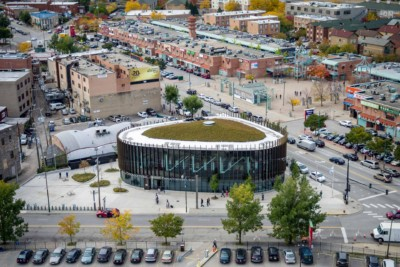 Aerial photography of Chicago Public Library - Chinatown Branch.