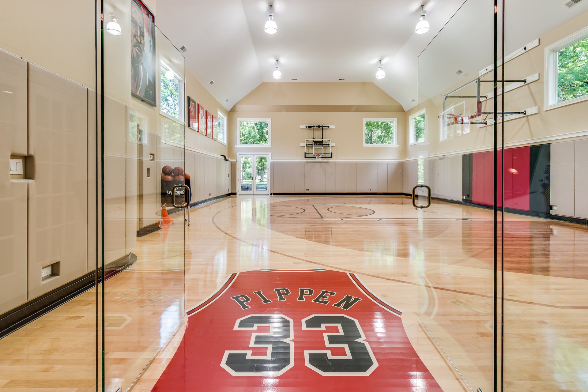 Photo of personal indoor basketball court of former Chicago Bulls player Scottie Pippen.